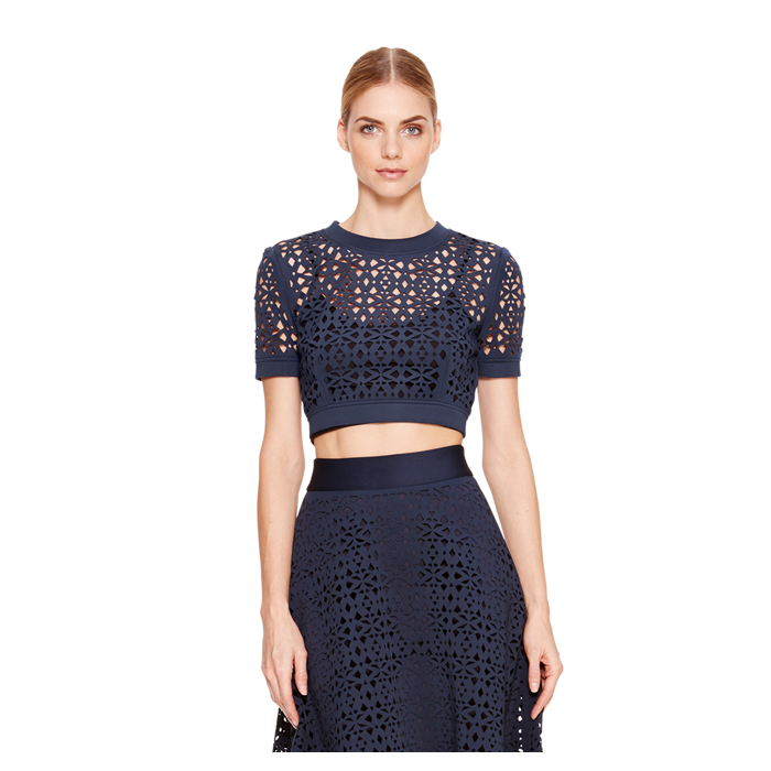 INK DKNY LASER CUT CROPPED TOP