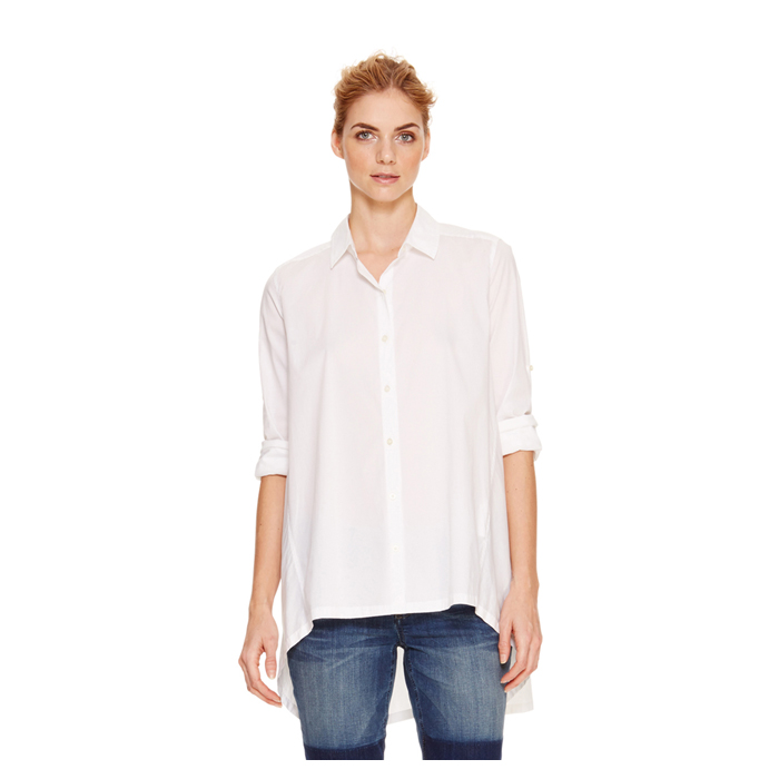 WHITE DKNY DKNYPURE LONG SLEEVE TRAPEZE SHIRT