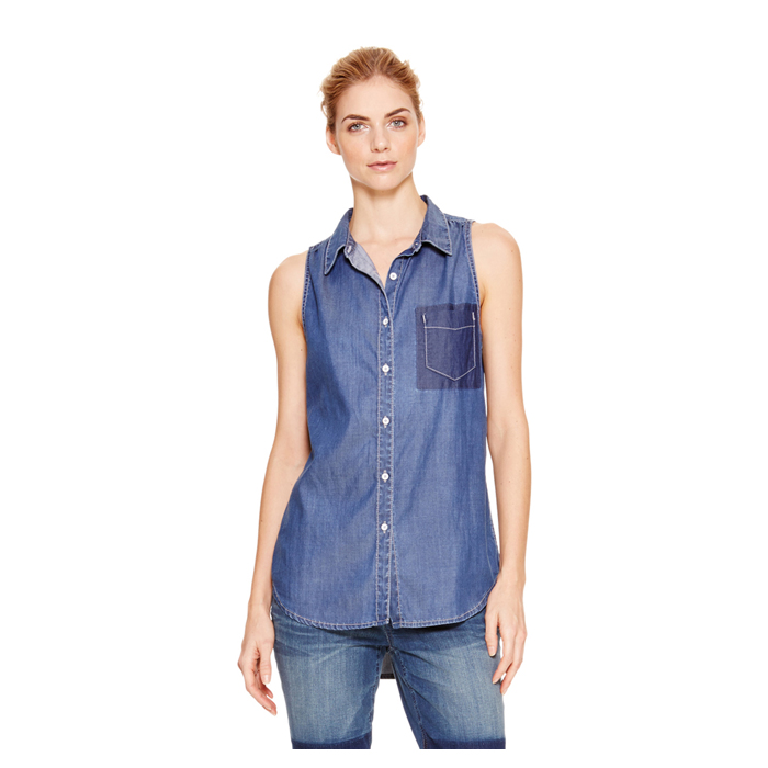 MEDIUM INDIG DKNY JEANS SLEEVELESS DENIM SHIRT