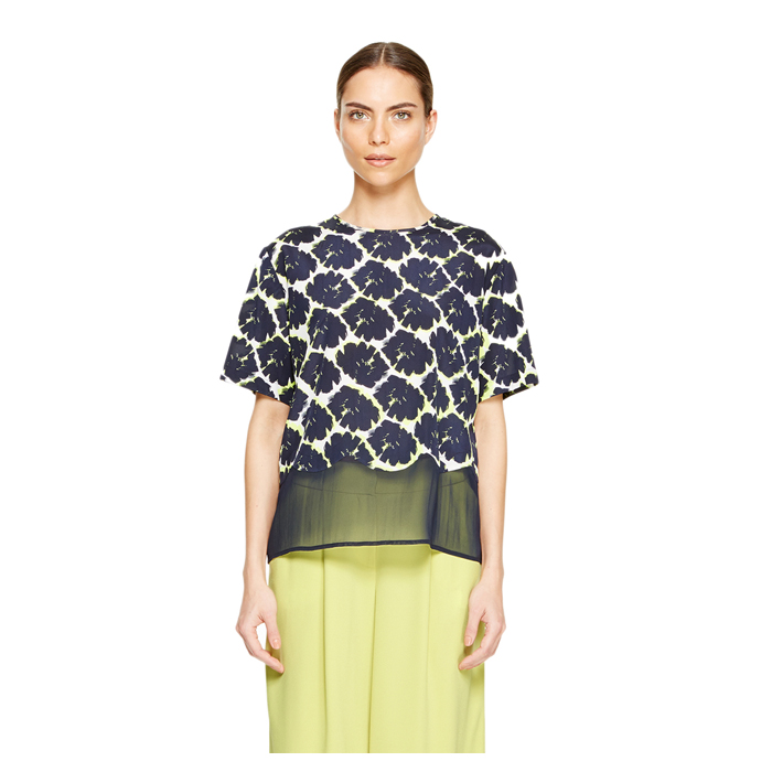 MIDNIGHT DKNY SHEER TRIM FLORAL BLOUSE