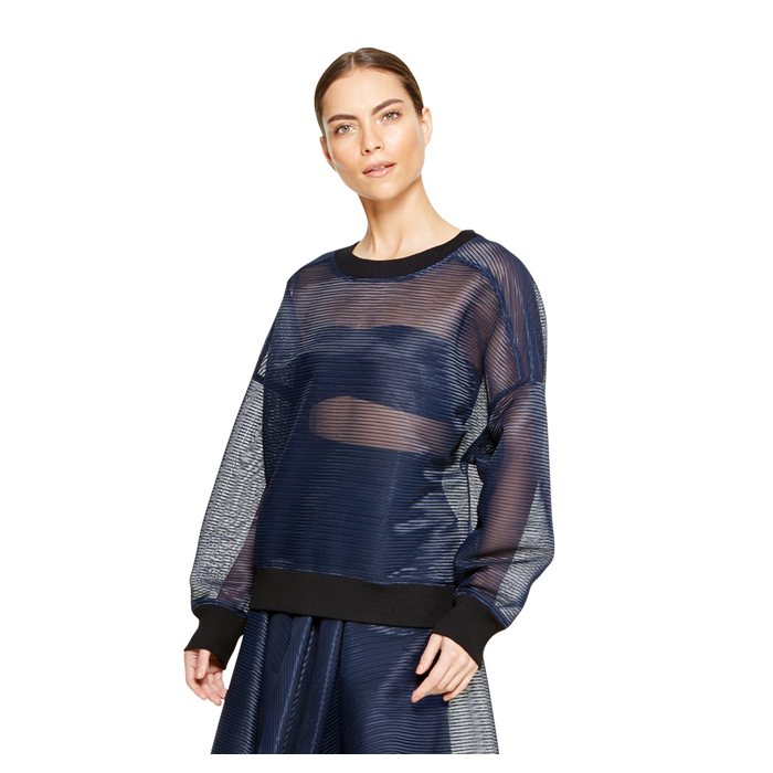 MIDNIGHT DKNY MESH DROP SHOULDER PULLOVER