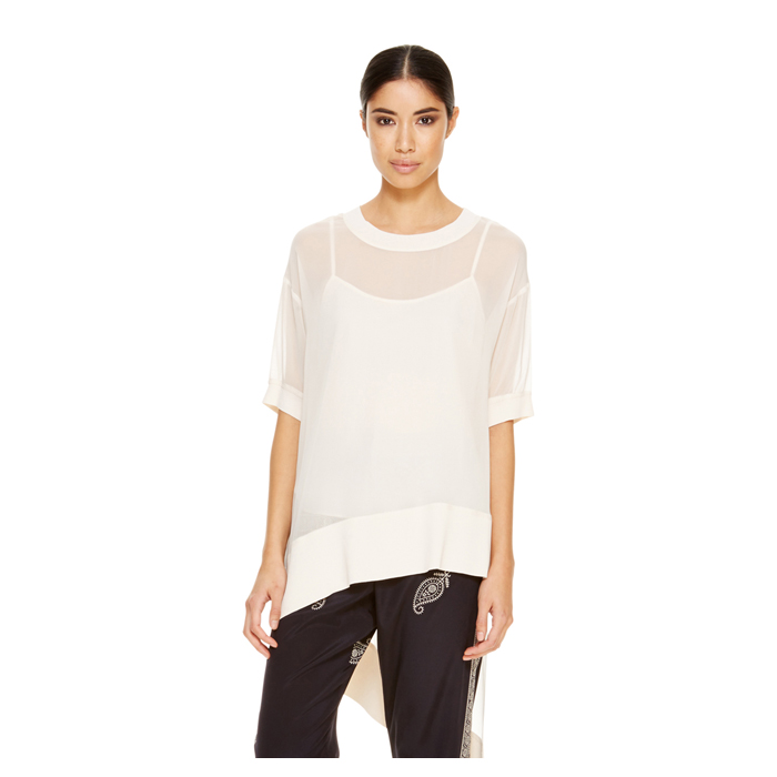 MUSLIN DKNY ASYMMETRICAL SHORT SLEEVE TUNIC
