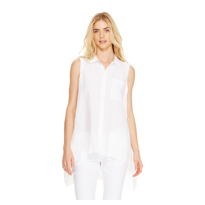 WHITE DKNY DKNYPURE HIGH LOW LINEN SHIRT