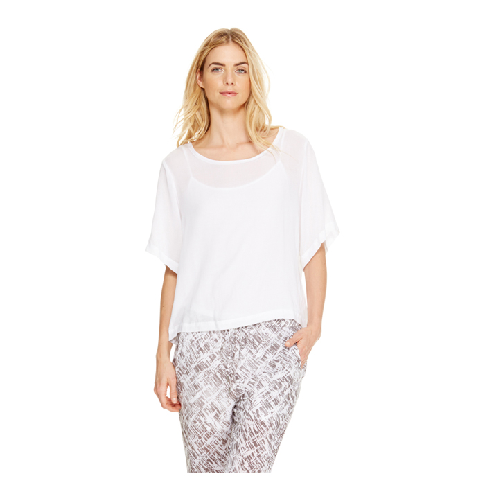 WHITE DKNY DKNYPURE ELBOW SLEEVE TEE