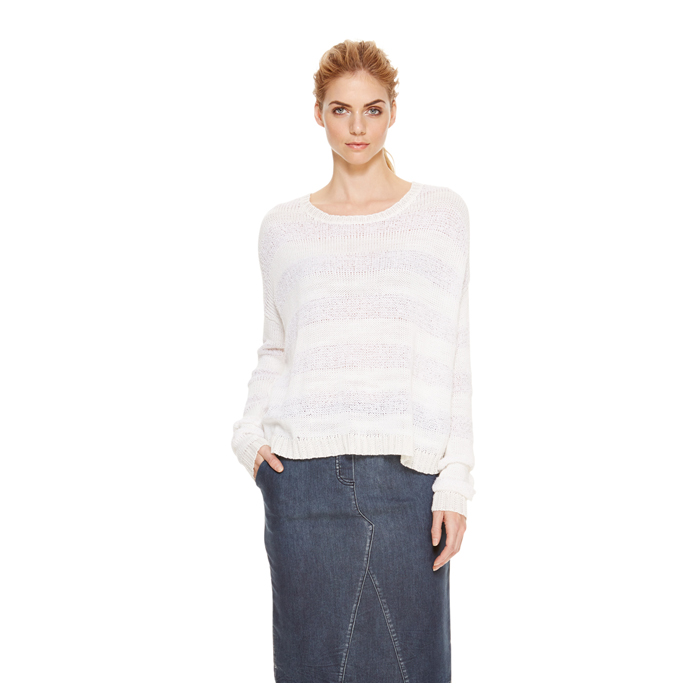 WHITE DKNY DKNYPURE NOVELTY STITCH PULLOVER