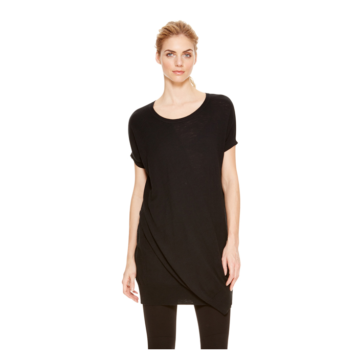 BLACK DKNY DKNYPURE FRONT OVERLAY COTTON TUNIC