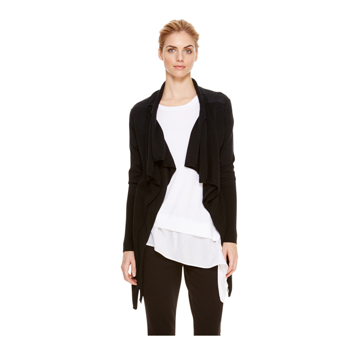 BLACK DKNY DKNYPURE DOUBLE LAYER CARDIGAN