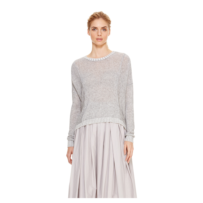 HEATHER GREY DKNY DKNYPURE DROP SHOULDER PULLOVER