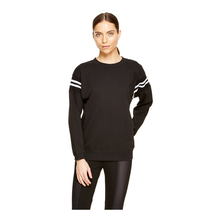 BLACK DKNY FRENCH TERRY V-NECK PULLOVER