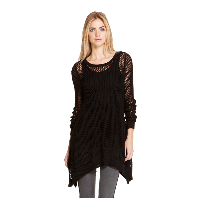 BLACK DKNY DKNYPURE COTTON TRAPEZE SWEATER