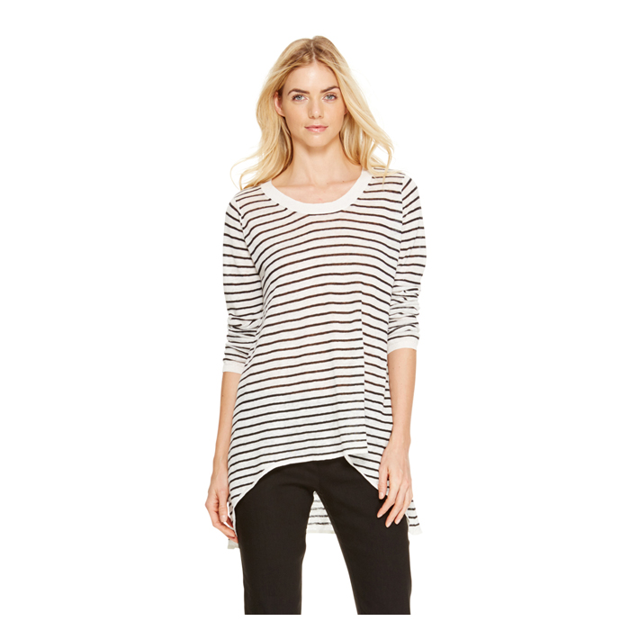 WHITE DKNY DKNYPURE STRIPED PULLOVER