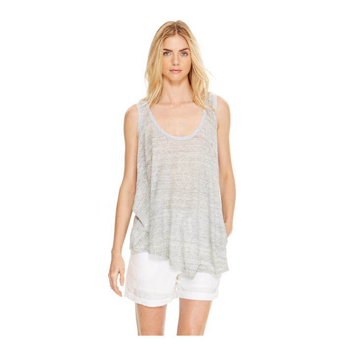 HEATHER GREY DKNY DKNYPURE LINEN DRAPEY TANK