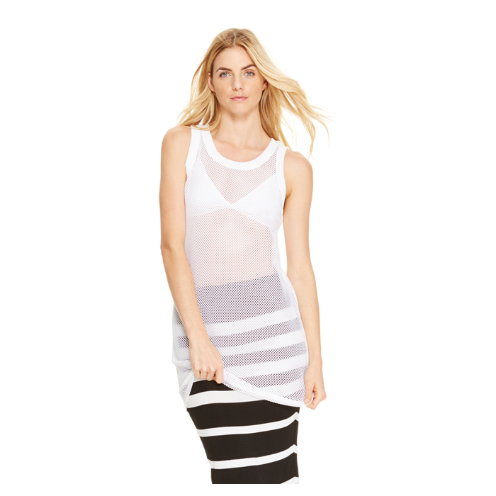WHITE DKNY SLEEVELESS MESH TUNIC