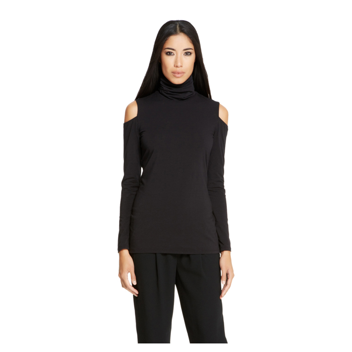 BLACK DKNY COLD SHOULDER TURTLENECK TEE