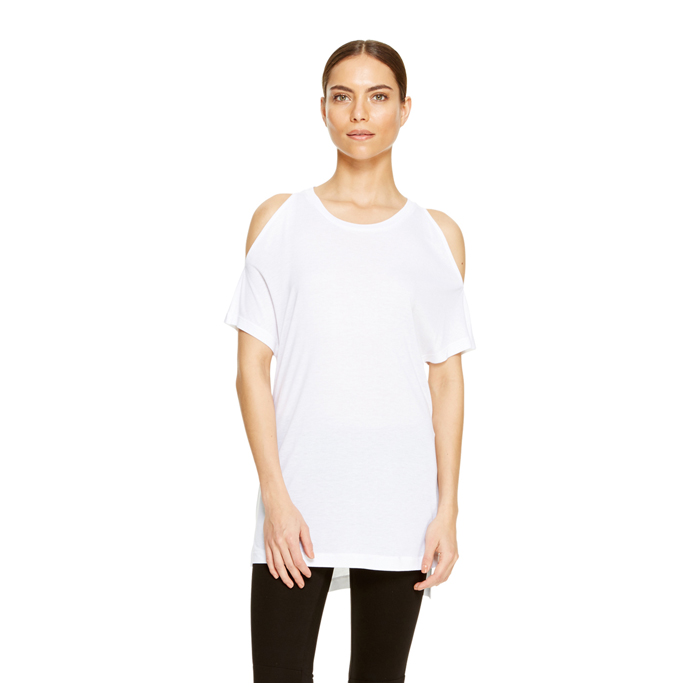 WHITE DKNY COLD SHOULDER JERSEY TEE