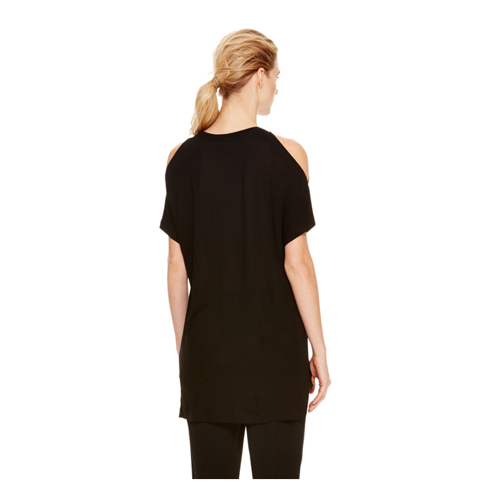BLACK DKNY COLD SHOULDER JERSEY TEE