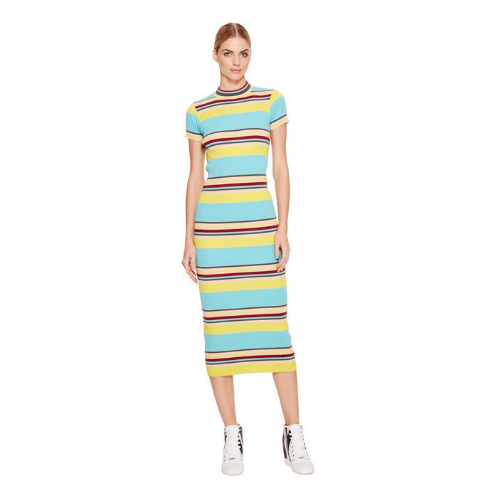 SUPER SONIC DKNY STRIPED MOCK NECK DRESS