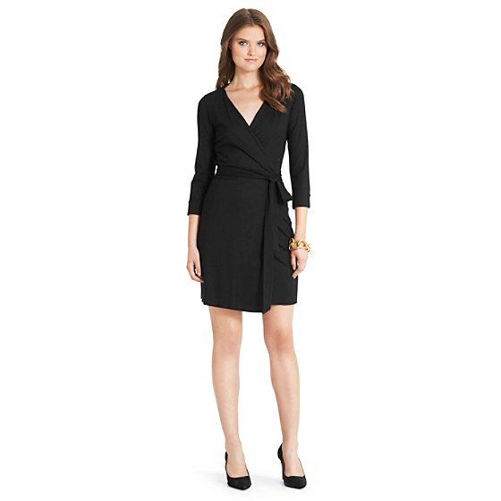 DVF New Julian Two Mini Jersey Wrap Dress in black
