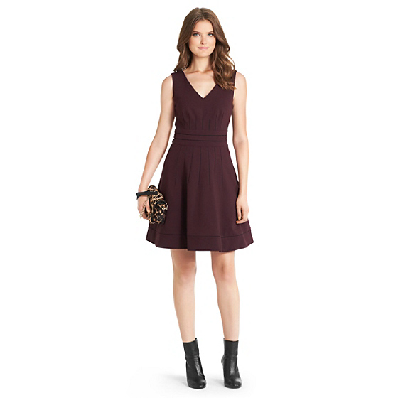 DVF Georgette Knit Fit and Flare Dress in brazen plum