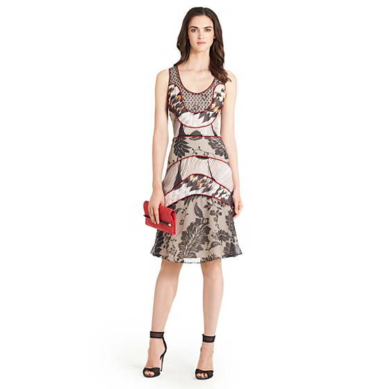 DVF Katarina Printed Chiffon Dress in lace flutter black