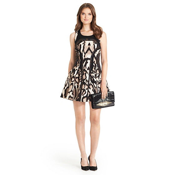 DVF Raelin Leopard Print Fit and Flare Dress in leopard bark combo