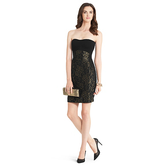 DVF Garland Metallic Strapless Dress in black/ gold