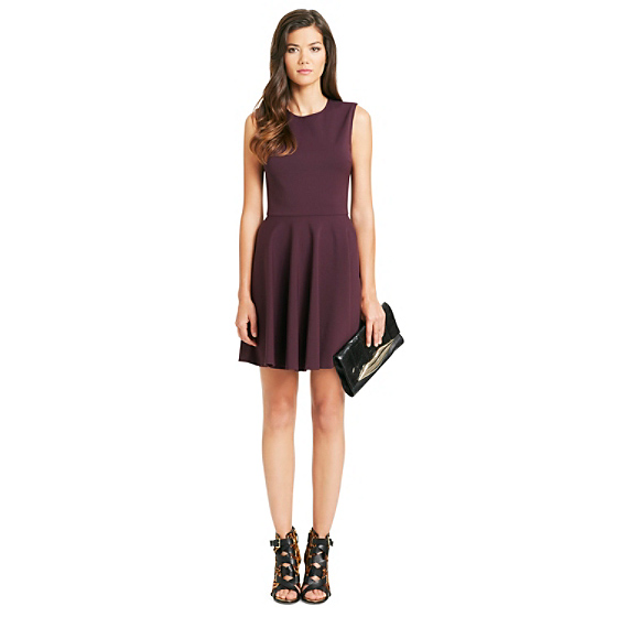 DVF Jeannie Fit and Flare Dress in brazen plum