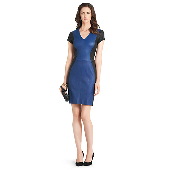 DVF Teala Leather Paneled Dress in mosaic blue/ black