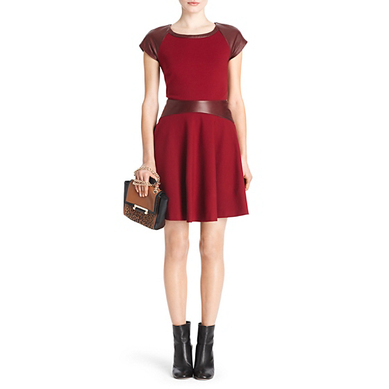 DVF Delyse Fit and Flare Leather Dress in new aubergine/deep cherry