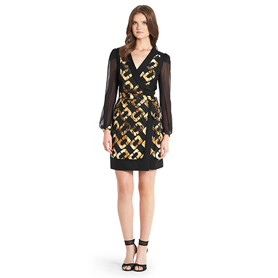 DVF Laila Chiffon Sleeve Wrap Dress in chain fragments gold/ black