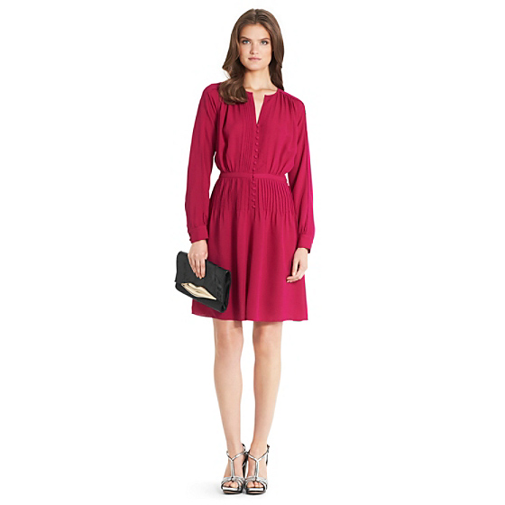 DVF Tawney Pleated Chiffon Dress in rouge