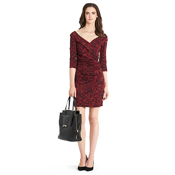 DVF Bentley Short Ruched Dress in animal rain red
