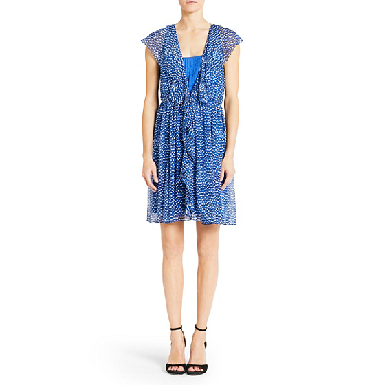 DVF Winifred Printed Chiffon Dress in dot rush small blue