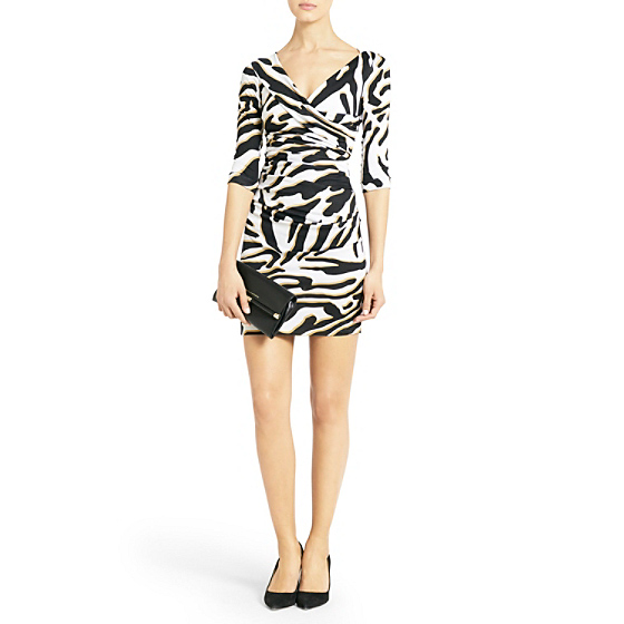 DVF Bentley Short Ruched Dress in zebra shadow black
