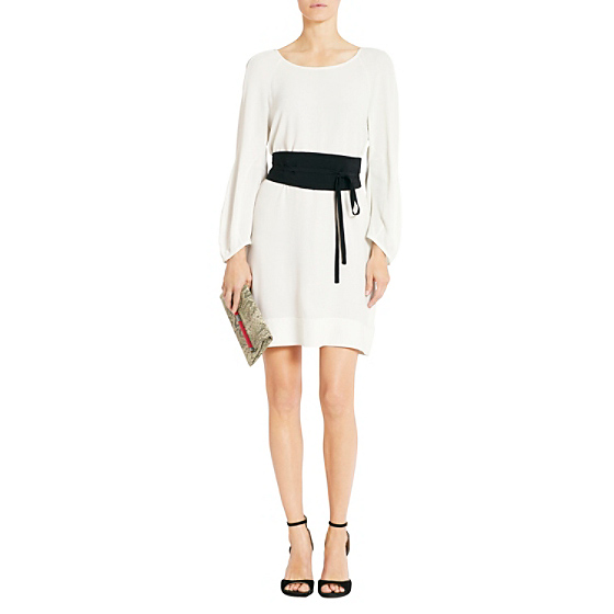 DVF Eribec Belted Dress in lunar moon/ black