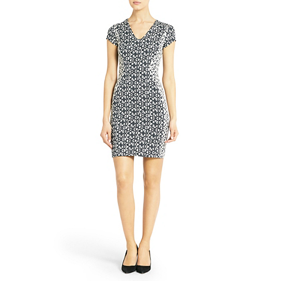 DVF Dayton Printed Paneled Dress in black/white