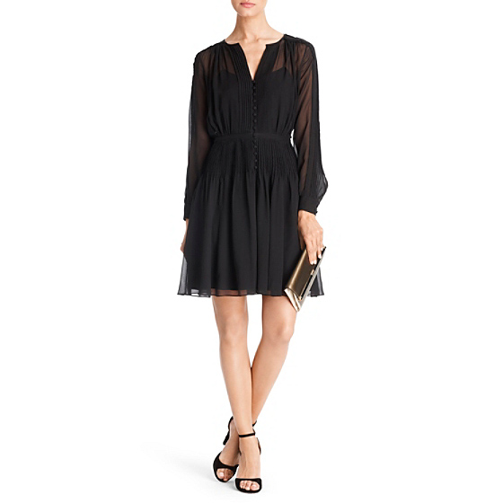 DVF Tawney Pleated Chiffon Dress in black