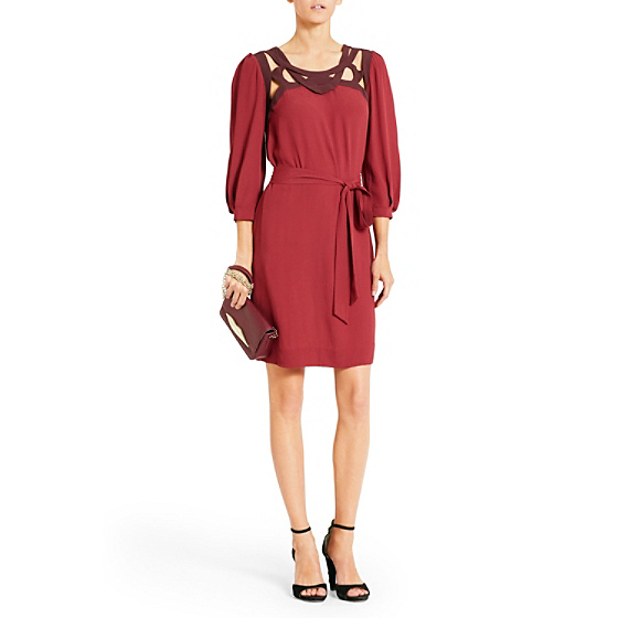 DVF Jadey Cutout Dress in new aubergine/ deep cherry