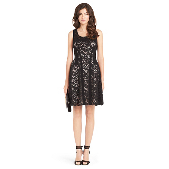 DVF Kala Lace Fit and Flare Dress in black