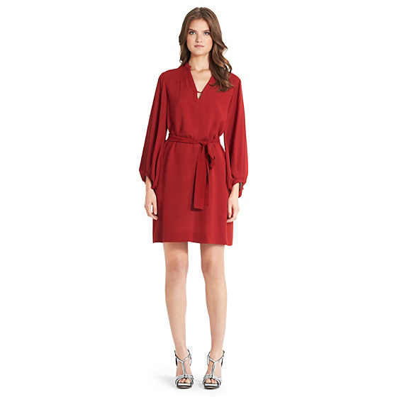 DVF Tanyana Silk Shirt Dress in vintage rose