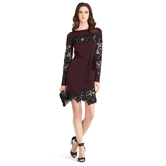DVF Ernestina Lace Detail Dress in brazen plum/ black