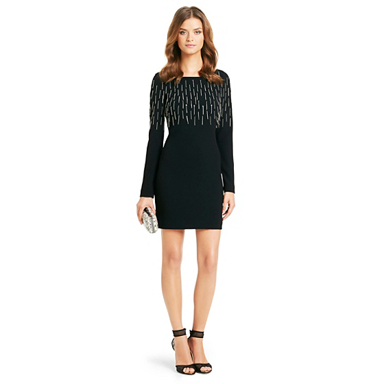DVF Kadira Chain Fringe Cocktail Dress in black