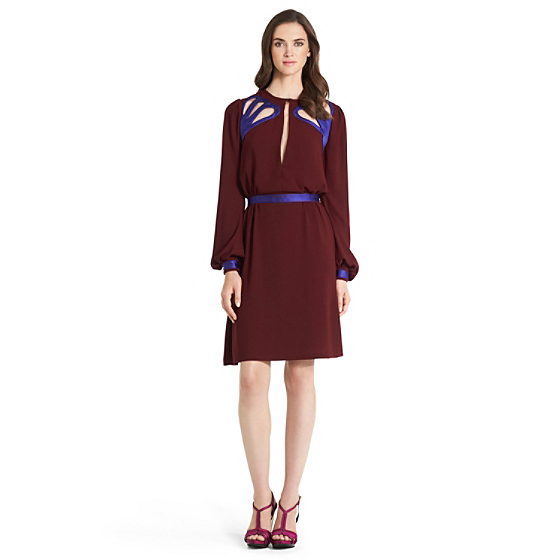 DVF Murphy Cutout Detail Dress in velvet sienna