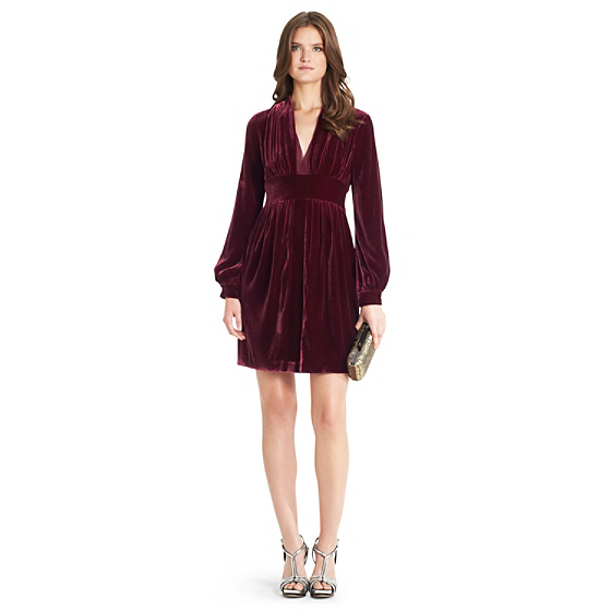 DVF Helina Velvet Dress in velvet sienna