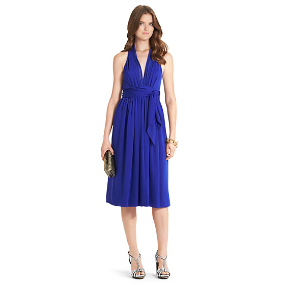DVF Piper Silk Cocktail Dress in tanzanite blue