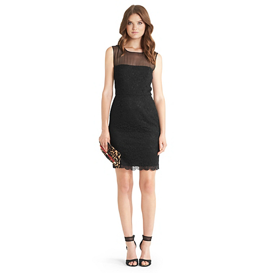 DVF Nisha Lace Dress in black
