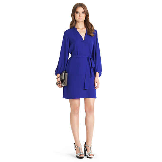 DVF Tanyana Silk Shirt Dress in tanzanite blue