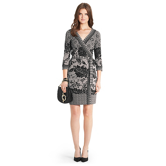 DVF Inari Lace Printed Silk Jersey Wrap Dress in lace fluter black/ lace band