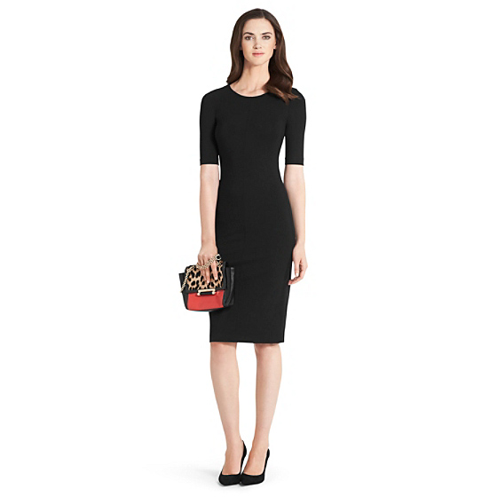 DVF Raquel Knit Bodycon Dress in black