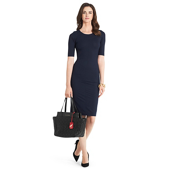 DVF Raquel Knit Bodycon Dress in blackened blue